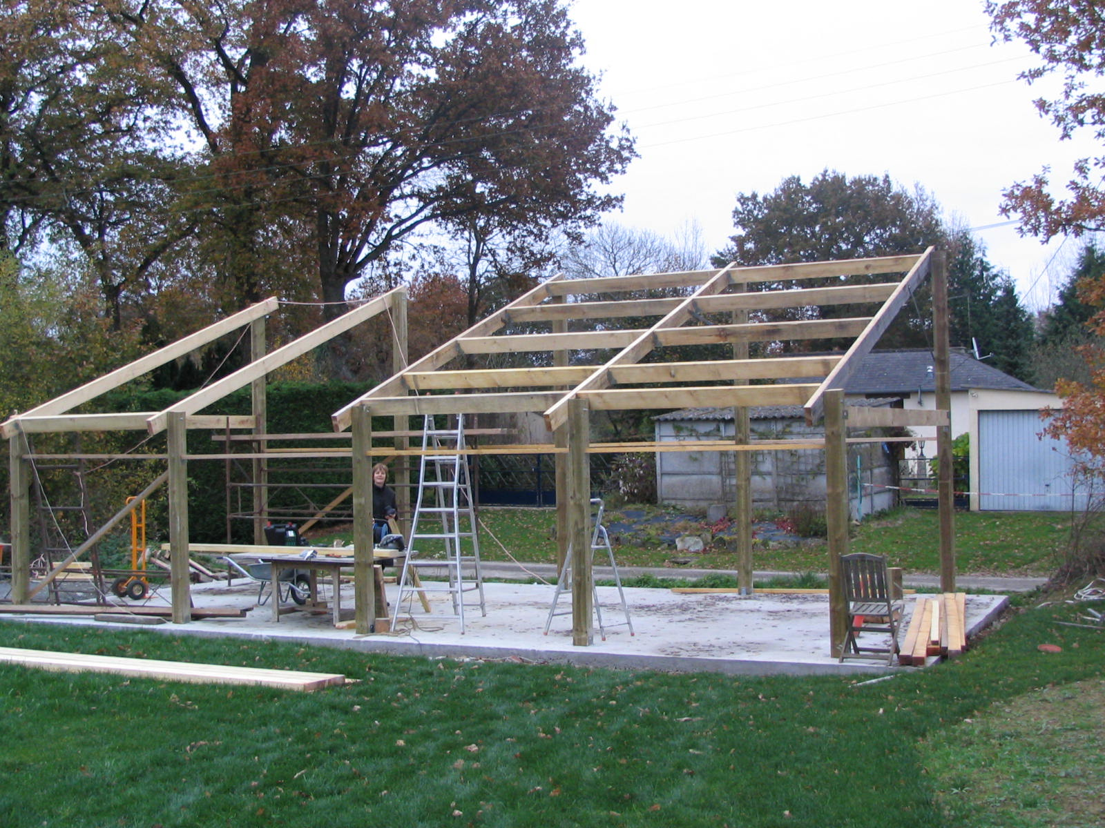 construction d'un hangar en bois 4.7m x 10m · construction hangar bois - Prix De Construction D Un Garage Au M2